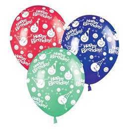 Smiley Face Birthday Latex Balloons